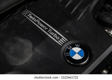 Novosibirsk, Russia – September 11, 2019:  BMW X1 , Close up detail of  car engine, front view. Internal combustion engine, car parts, deteyling