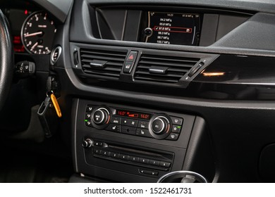 Novosibirsk, Russia – September 11, 2019:  BMW X1 , car Interior - steering wheel, shift lever, multimedia  systeme, driver seats and dashboard