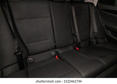 Novosibirsk, Russia – September 11, 2019:  BMW X1 ,  interior design, car passenger and driver seats with seats belt.