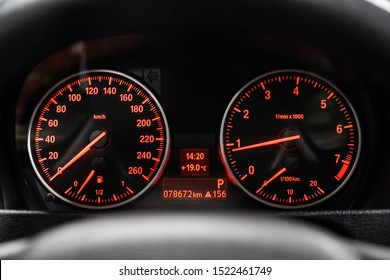 Novosibirsk, Russia – September 11, 2019:  BMW X1 , Close up Instrument automobile panel with Odometer, speedometer, tachometer, fuel level
