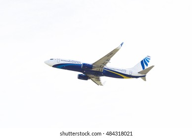 Novosibirsk, Russia - September 13, 2016: NorthStar Boeing 737-800 is flying in the sky
