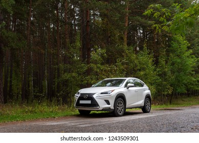 NOVOSIBIRSK, RUSSIA – September 15, 2018: New Lexus NX 300 on road against the forest
