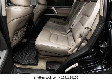 Novosibirsk, Russia – September 18, 2019:  Toyota Land Cruiser 200, Leather interior design, car passenger and driver seats with seats belt.