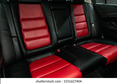 Novosibirsk, Russia – September 18, 2019:  Mazda 6, Leather interior design, car passenger and driver seats with seats belt.