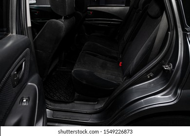 Novosibirsk, Russia – September 29, 2019:  Hyundai Tucson , interior design, car passenger and driver seats with seats belt.