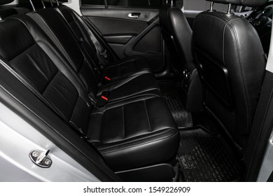 Novosibirsk, Russia – September 29, 2019:  Wolkswagen Tiguan ,Leather interior design, car passenger and driver seats with seats belt.