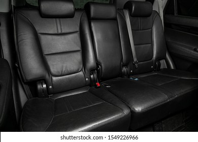 Novosibirsk, Russia – September 29, 2019:  Kia Sorento , Leather interior design, car passenger and driver seats with seats belt.