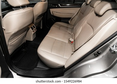 Novosibirsk, Russia – September 29, 2019:  Subaru Outback ,Leather interior design, car passenger and driver seats with seats belt.
