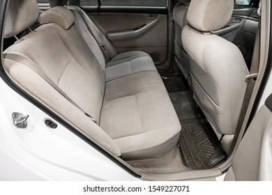 Novosibirsk, Russia – September 29, 2019:  Toyota Fielder, interior design, car passenger and driver seats with seats belt.