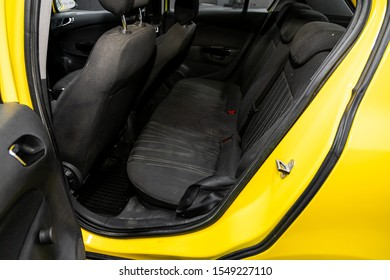 Novosibirsk, Russia – September 29, 2019:  Opel Corsa, interior design, car passenger and driver seats with seats belt.