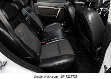 Novosibirsk, Russia – September 29, 2019:  Chevrolet Captiva, Leather interior design, car passenger and driver seats with seats belt.