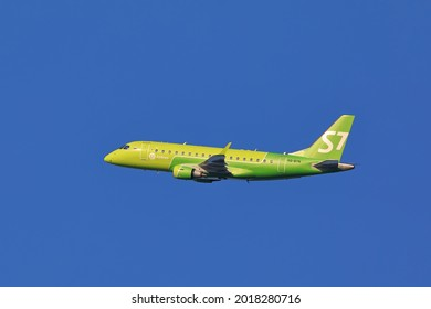 NOVOSIBIRSK, RUSSIA-JULY 22, 2021: An Embraer ERJ-170 VQ-BBN passenger aircraft of S7 Airlines on takeoff from Tolmachevo airport