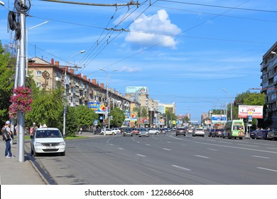Novosibirsk, RUSSIA-JULY 31, 2015: view of Gogol street on a summer day