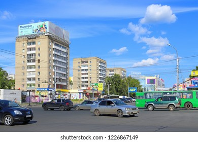 Novosibirsk, RUSSIA-JULY 31, 2015: view of the intersection of Gogol and Sovetskaya