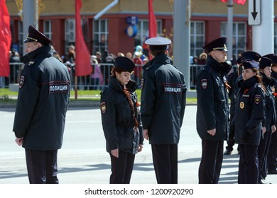 Novosibirsk, Russia-September 22, 2018.Russian police at a rally against pension reform
