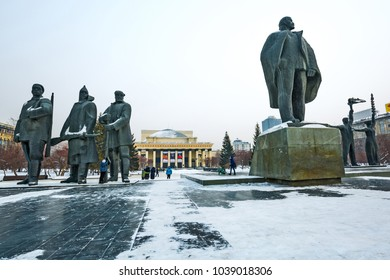 Novosibirsk; Siberia; Russia-February 4; 2018: the building of the Novosibirsk state academic Opera and ballet theater and sculptural compositions on Lenin square
