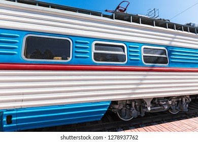 Novosibirsk, Western Siberia, Russia-April 15, 2018: Exhibit of the Novosibirsk Museum of railway equipment-Soviet Riga high-speed electric train ER 200-2