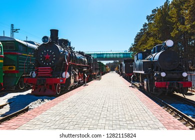 Novosibirsk, Western Siberia, Russia-April 15, 2018: the territory of the Novosibirsk Museum of railway equipment. N. A. Akulinin with retro exhibits