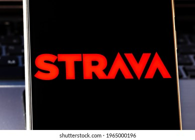 Novosibirsk,Russia - April, 29 - 2021: Editorial photo on Strava theme.  Illustrative photo for news about Strava - an internet service for tracking human exercise