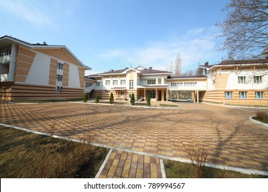 NOVOVORONEZH, RUSSIA - APR 11, 2017: Administrative and residential complex of the sanatorium-dispensary Energetik of Novovoronezh NPP. Caring for people is a priority for Novovoronezh NPP