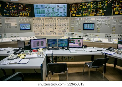 Novovoronezh, Russia - April 04, 2015: Inside the control room of fifth power unit of the Novovoronezh Nuclear Power Plant. Computers of control panel. Blog tour to NPP, April 04 2015, in Russia