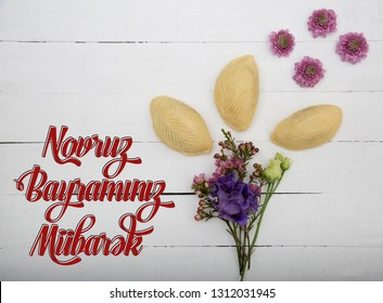 Novruz holiday poster with wording in translation Happy Novruz Celebration