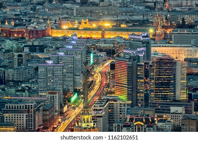 Novy Arbat Street in Moscow from a height