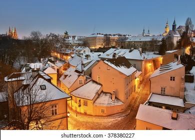Novy Svet at night, Prague, Czech republic