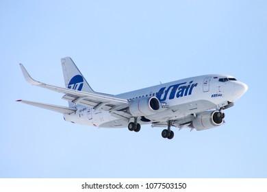Novyy Urengoy, Russia - April 21, 2018: UTair Boeing 737 arrives to the Novyy Urengoy international airport.