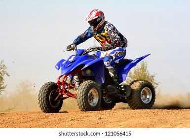 NOVYY URENGOY, RUSSIA - AUGUST 30: Undefined competitor's quad bike Yamaha No. 3 competes at the annual Russian Motocross Championship on August 30, 2012 in Novyy Urengoy, Russia.