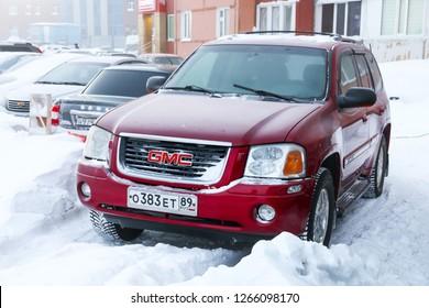 Novyy Urengoy, Russia - December 22, 2018: Motor car GMC Envoy in the city street.