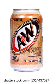 Novyy Urengoy, Russia - February 11, 2019: Aluminium can of the A&W Cream Soda isolated over white background.