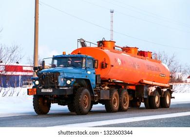 Novyy Urengoy, Russia - February 22, 2019: Semi-trailer truck Ural 44202 at the interurban road.