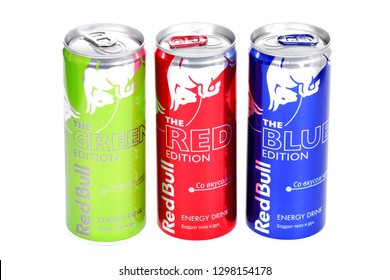 Novyy Urengoy, Russia - January 26, 2019: Aluminium cans of the energy drink Red Bull isolated over white background.