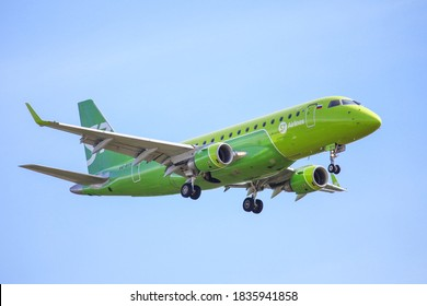 Novyy Urengoy, Russia - July 5, 2020: S7 Airlines Embraer ERJ-170-100SU 170SU arrives to the Novyy Urengoy airport.