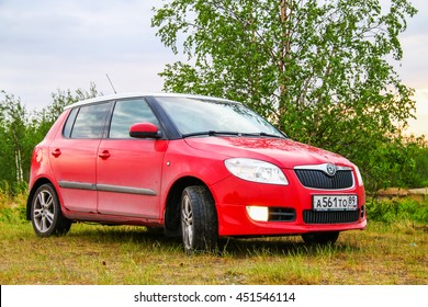 NOVYY URENGOY, RUSSIA - JUNE 16, 2016: Motor car Skoda Fabia at the countryside.