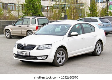 Novyy Urengoy, Russia - June 19, 2014: Motor car Skoda Octavia in the city street.
