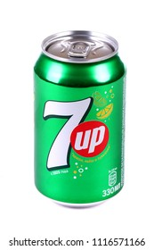 Novyy Urengoy, Russia - June 19, 2018: Aluminium can of the 7Up isolated over white background.