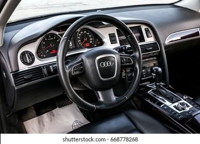 NOVYY URENGOY, RUSSIA - JUNE 20, 2017: Interior of the luxury car Audi A6.