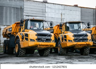 Novyy Urengoy, Russia - June 21, 2017: Articulated dump trucks Volvo A25F in the city street.