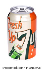Novyy Urengoy, Russia - June 8, 2019: Aluminium can of the 7Up 1950s Edition isolated over white background.