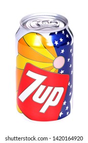 Novyy Urengoy, Russia - June 8, 2019: Aluminium can of the 7Up 1960s Edition isolated over white background.