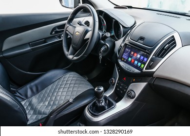 Novyy Urengoy, Russia - March 2, 2019: Interior of the motor car Chevrolet Cruze.