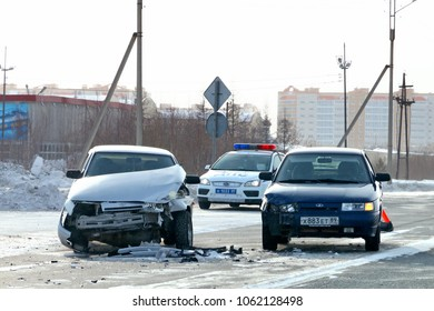 Novyy Urengoy, Russia - March 31, 2018: Accident with two cars Lada 110 in the city street.