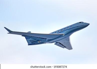 NOVYY URENGOY, RUSSIA - MAY 16, 2014: Business jet Gulfstream Aerospace G650 takes off the Novyy Urengoy International Airport.