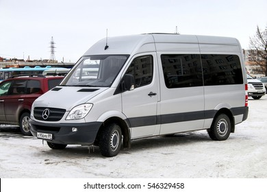 NOVYY URENGOY, RUSSIA - MAY 9, 2016: Passenger van Mercedes-Benz W906 Sprinter in the city street.