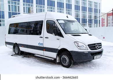 NOVYY URENGOY, RUSSIA - NOVEMBER 16, 2013: Compact van Mercedes-Benz Sprinter in the city street.