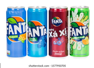 Novyy Urengoy, Russia - November 30, 2019: Aluminium cans of different Fanta tastes isolated over white background.