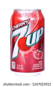 Novyy Urengoy, Russia - November 7, 2018: Aluminium can of the 7Up Cherry isolated over white background.