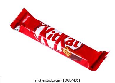 Novyy Urengoy, Russia - October 2, 2018: Chocolate bar Kit Kat isolated over white background.